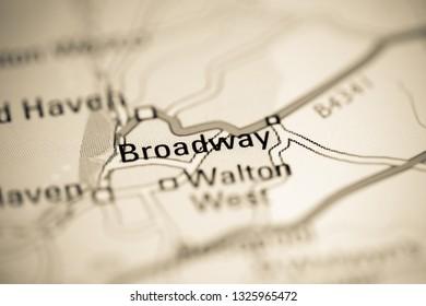 Broadway. United Kingdom on a geography map
