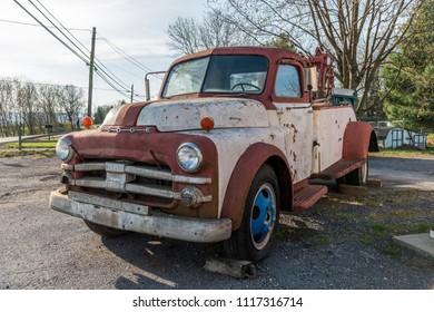 Broadway, Virginia, USA- April 13, 2018: Old Dodge towing truck