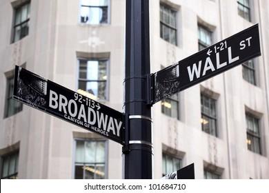 Broadway and Wall Street Signs, Manhattan, New York