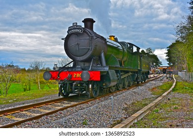 Broadway, Worcestershire / England - 4/5/2019: The Gloucester Warwickshire Steam Railway. Engine 2807(a 28xx' class heavy freight locomotive,blt1905) is a  2-8-0 engine,here used for a footplate day.