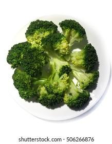 Broccoli boil on white background