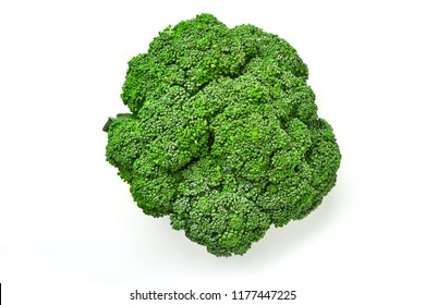 Broccoli cabbage on a white background. Top view of broccoli. Isolated