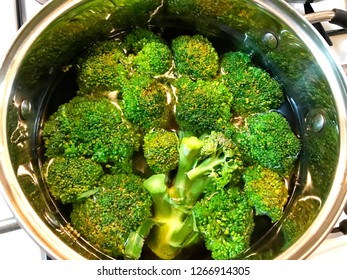 Broccoli cabbage in water in a saucepan.