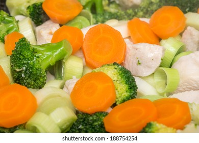 Broccoli, Carrots And Chicken Meat In Frying Pan