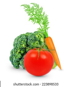 broccoli, carrots and tomato on white background