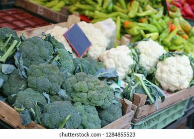 broccoli and cauliflower an a market