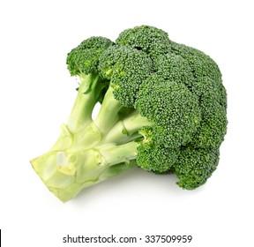 Broccoli close up on white background