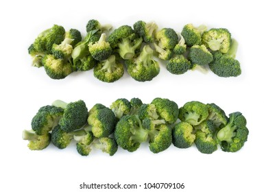 Broccoli with copy space for text. Broccoli isolated on a white background. Broccoli on white background. Top view.