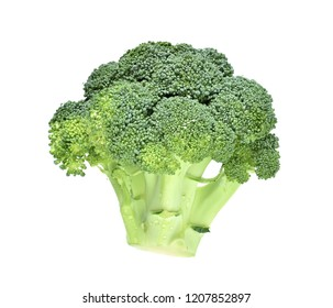 broccoli with drops isolate on white
