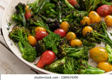 Broccoli Florets and Heirloom Cherry Tomatoes Sautéed in Skillet