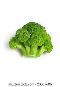 Broccoli flower on white background