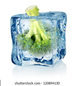 Broccoli in ice isolated on a white background