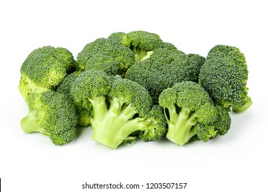 A lot of broccoli inflorescence on white background isolated. space for text