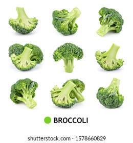 Broccoli isolated. Broccoli on white. Set of fresh broccoli.