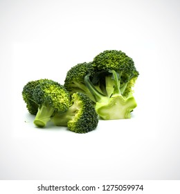 Broccoli separate pieces  on the white blackground