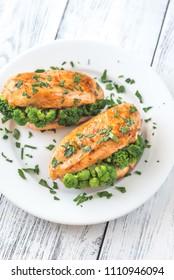 Broccoli stuffed chicken breast