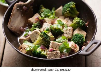 Broccoli, tofu, red onion stir fry