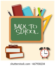 Brochure back to school with the school Board, stationery, books, alarm clock and glasses.