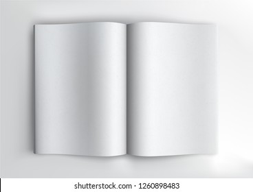 Brochure magazine book, white open pages mockup on black background, flat lay, add your design