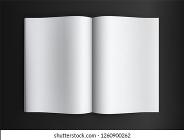 Brochure magazine book, white open pages mockup on white background, flat lay, add your design