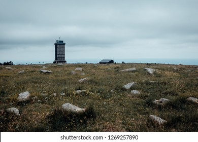 Brocken mountain landscape with weather station