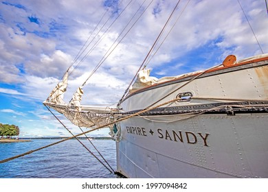 Brockville, Ontario, Canada - August 31, 2019: Empire Sandy docked at the Tall Ships Festival. Sunny day on calm water.
