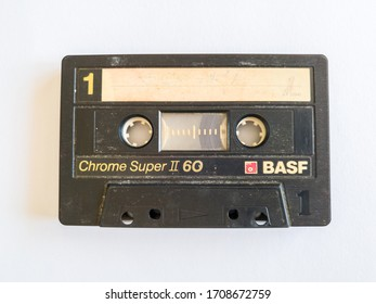 Brod / Bosnia and Herzegovina - April 7, 2020: Audio cassette isolated on white background. Old outdated technology. - Image