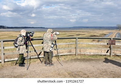Broddetorp, Sweden - March 22 2014: Bird watchers at lake Hornborga. The birds (Cranes) is situated in the middle of a natural and cultural landscape.