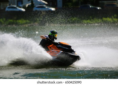 Brodenbach, Germany - May 21, 2017; A fast jetski on the Moselle (Mosel) with blurred background. The river Mosel is perfect for racing, because of little ship traffic.