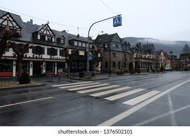 Brodenbach, Rheinland-Palz / Germany - January 6 2018: Romantic get away town street with buildings/houses along the Mosel (Moselle) River in Rheinland-Pfalz, Germany.