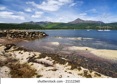 Brodick Bay and the mountains of Arran, Scotland