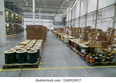 Brody, Lviv / Ukraine - December 13 2017: Warehouse industrial enterprise. The storage of coils of cable.