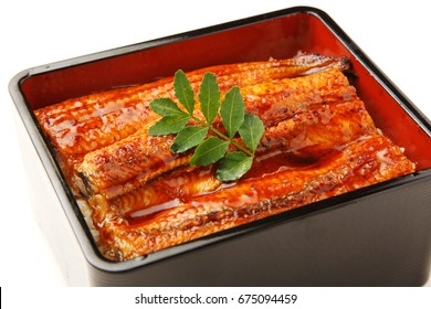 Broiled eel served on box of rice