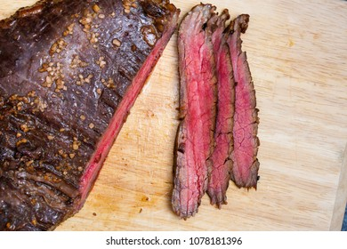 Broiled Marinated Teriyaki Flank Steak Cooked Medium Rare
