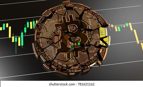 Broke, Cracked Bitcoin, Bitcoin Price slips Crypto Market Value down, 3D Rendering
