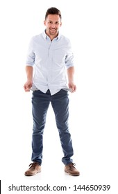 Broke man with empty pockets - isolated over white background