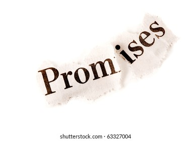 "Broken Agreement concept, suitable for many other uses including depression. The word ""promise"" is torn in two."