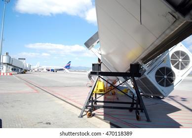 Broken airbridge at Sofia airport. Bulgaria.