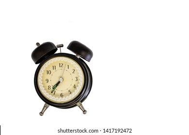 Broken Alarm Clock in black traditional classic style on isolated white background for die cut as package design element and copy space. Abstract of concept teamwork  Discipline and punctual.