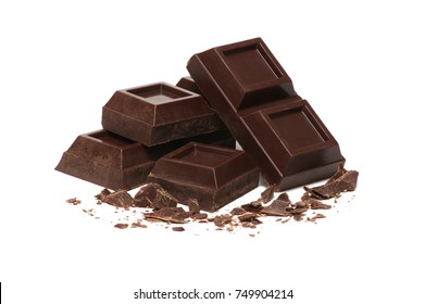 broken bar of dark chocolate isolated on white