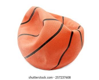 Broken basketball isolated on white background