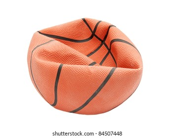 Broken basketball isolated on white