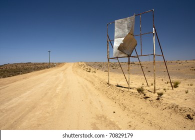 Broken billboard in desert - abandoned place