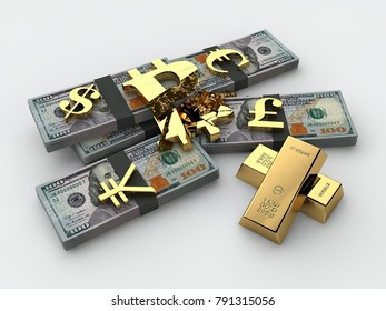 Broken bitcoin cryptocurrency into bundles of US dollars and currency symbols, gold bullion. The idea of the fall of bitcoin exchange rate, cryptocurrency inflation. 3D rendering on white background