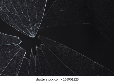 broken black glass