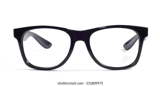BROKEN black glasses on a white background