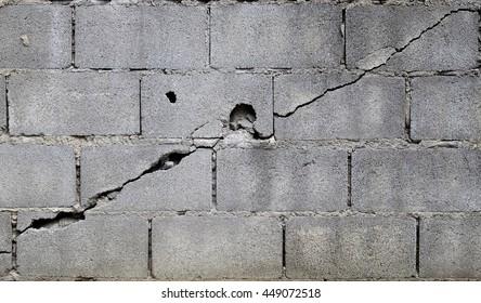 broken block cement wall