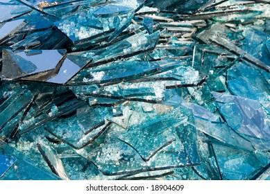 Broken blue glass background