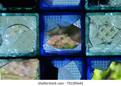 broken blue glass blocks