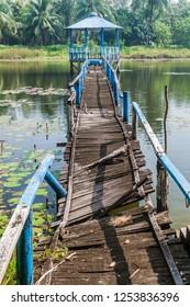 Broken boardwalk in Harbaria eco park in Sundarbans, Bangladesh